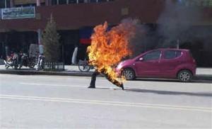 Dorje Rinchen, zelfverbranding. Foto Free Tibet, Londen.