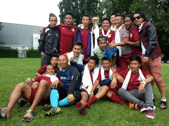 Voetbal elftal zes en vrienden