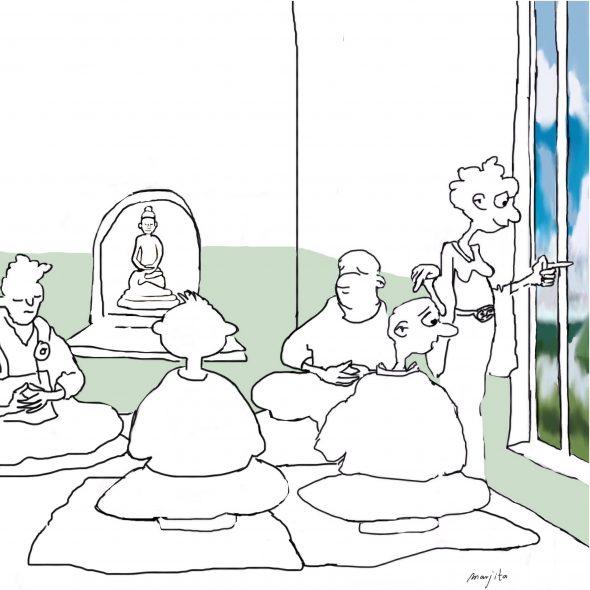 Cartoon de leraar en het geopende raam