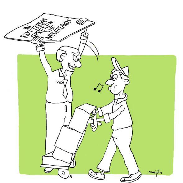 Cartoon In Rotterdam spreken we Nederlands maart 2014