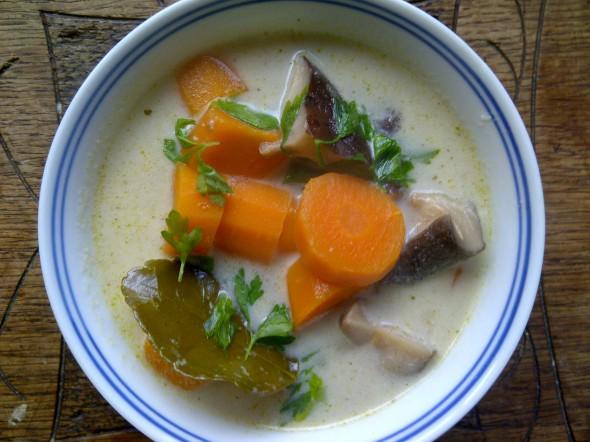 shiitake citroengras soep zonder aardappel met peterselie