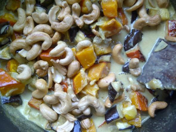 curry pompoen met aubergine