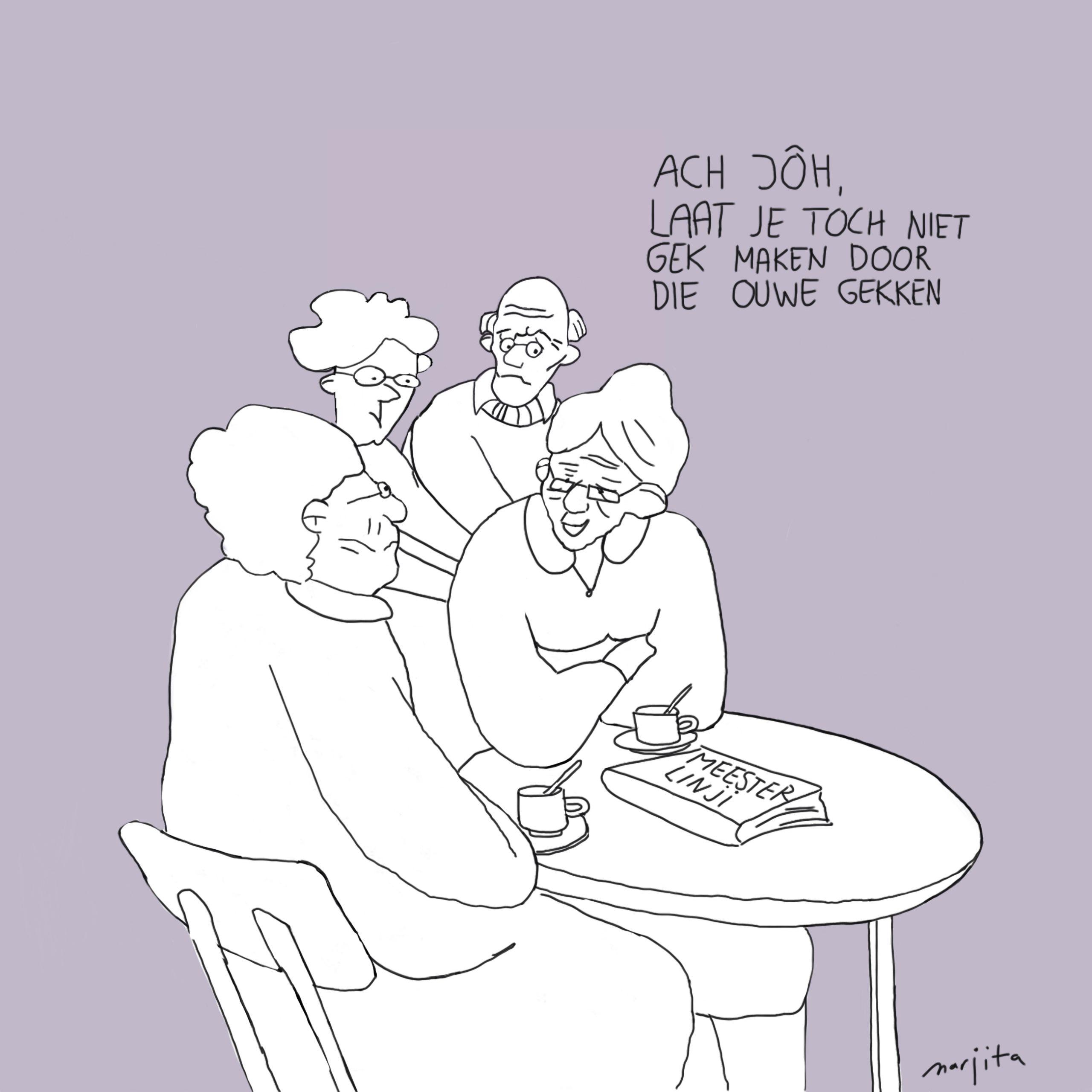 Gesprekje tussen bejaarden over de Linji Lu: 'Laat je toch niet gek maken door die ouwe gekken!'