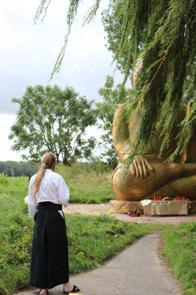 Het enorme boeddhabeeld in het park van het centrum.