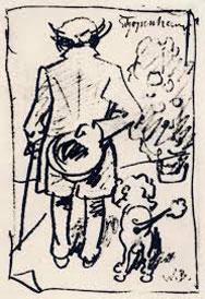 Arthur Schopenhauer met zijn poedel tekening Wilhelm Busch.