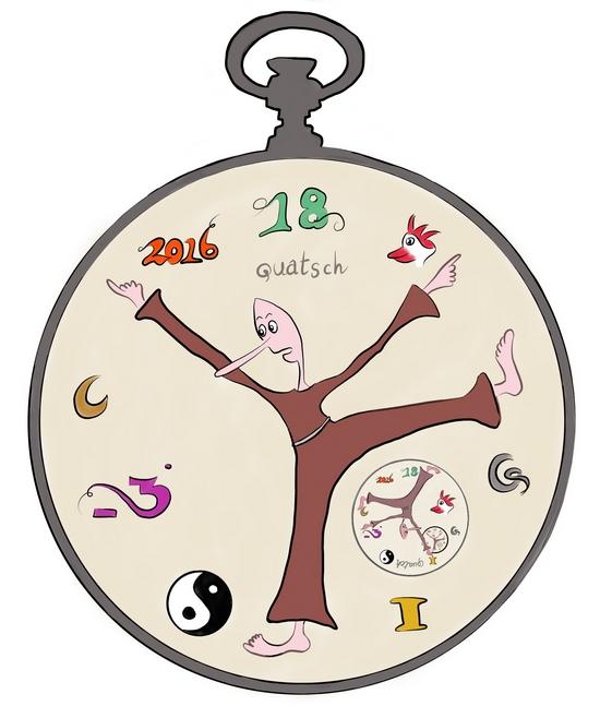 Rare klok met vier wijzers die de ledematen van een monnik blijken te zijn.