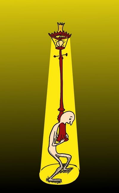 Mannetje dat een lantaarnpaal met zich meezeult.