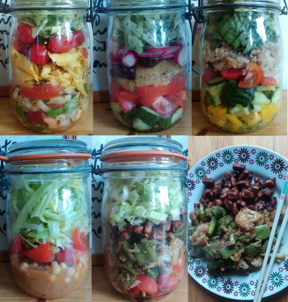 Eigen salades in weckpotten.