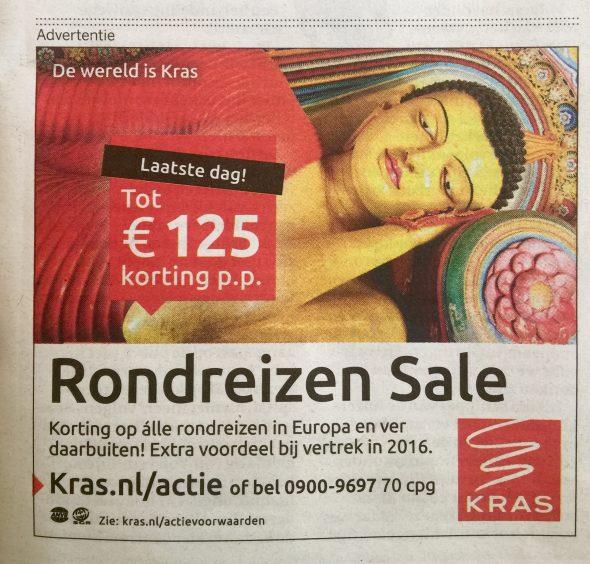 Stervende Boeddha advertentie Krasreizen augustus 2016