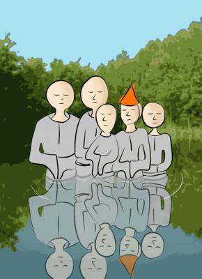 Groepje roerloze zenmonniken die tot hun middel in een bosven staan. Een van hen draagt een feestmuts