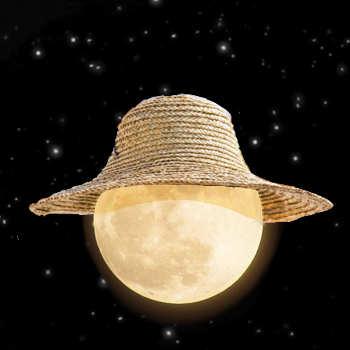 Tekening van een maan met een strohoed