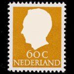 Oude postzegel van 60 cent met wit silhouet van Hans van Dam