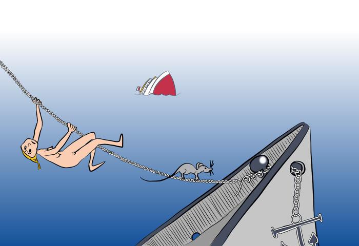 Tekening van twee zinkende schepen en een bloot vrouwtje en een rat die via een scheepskabel proberen te ontsnappen