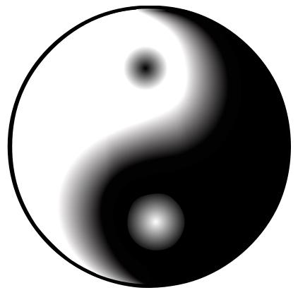 yin-yangsymbool met vloeiende grenzen