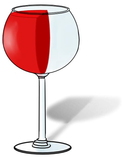 Wijnglas, verticaal gevuld met rode wijn
