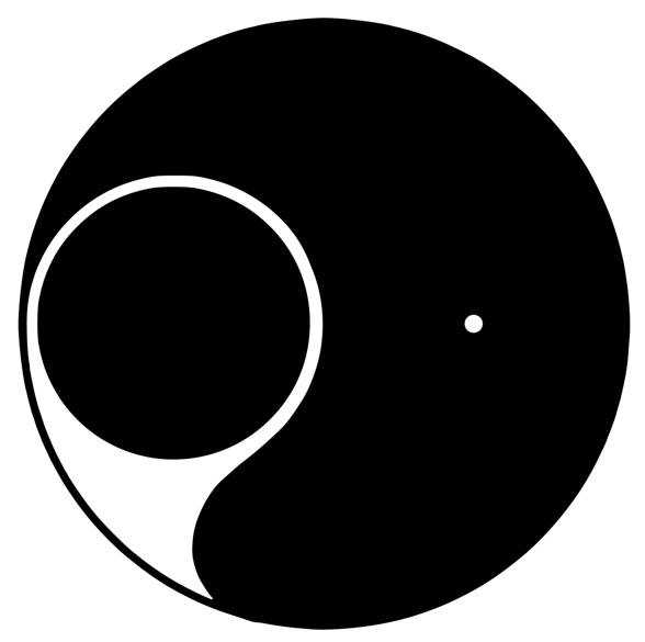 Yinyangsymbool waarin het vrouwelijke (het zwarte) het mannelijke overheerst