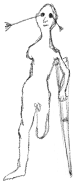 Potloodtekening van een naakt mannenetje met twee pijlen in zijn ogen, een geamputeerd been en arm, en een ouderwetse kruk