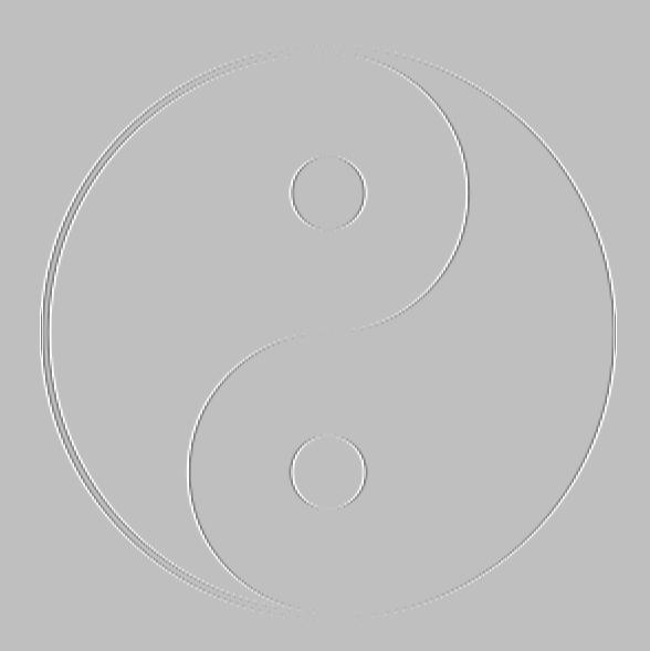 grijs yinyangsymbool op grijze ondergrond met opstaande (embossed) randen.
