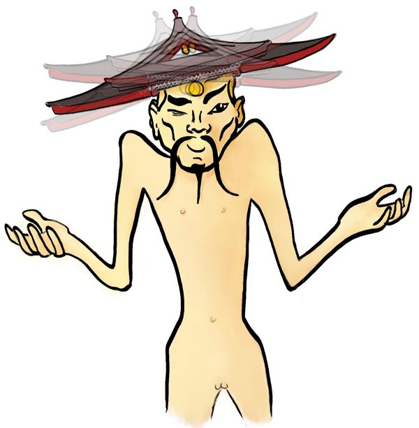 Meester Tja met een wiebel tempeldak op zijn hoofd.