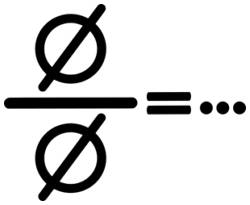 som: de lege leer gedeeld door de lege leer = puntje puntje puntjeselteken (drie puntjes)