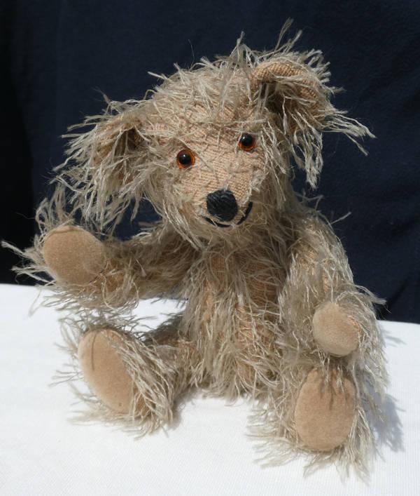 Vrolijke teddybeer met lange haren.