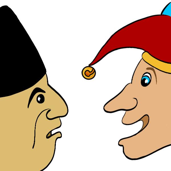 Close-up van de gezichten van een ernstige derwisj met muts en een olijke derwisj met narrenkap die naar elkaar kijken.