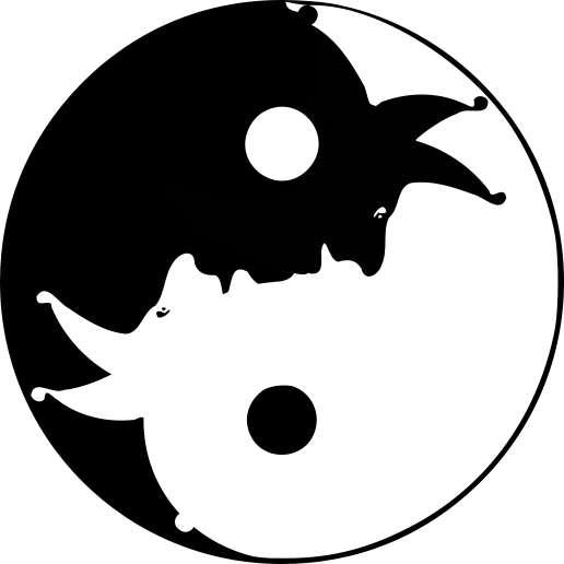 Yinyangsymbool waarin de s-curve de profielen van een zwarte en een witte nar uittekent.