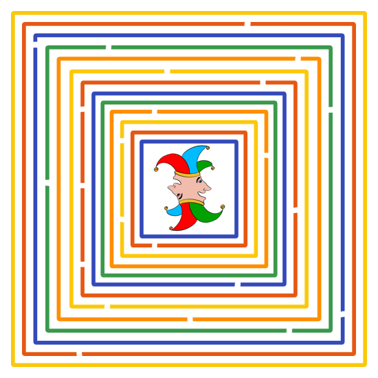 Labyrint van tientallen gekleurde kaders met kleine openingen en middenin een januskop met narrengezichten in een gesloten kader.