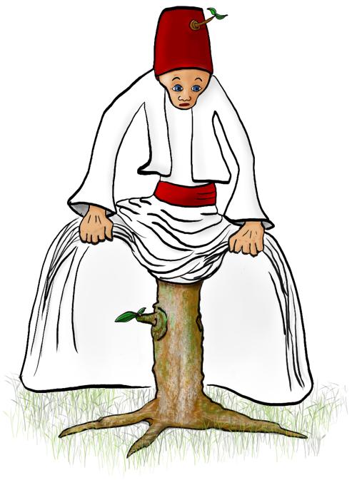 Derwisj op een boomstammetje in plaats van benen; uit zijn hoed groeit een tak met een blaadje.