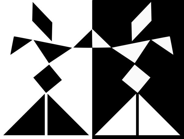 Zwarte tangramderwisj op een witte achtergrond en een witte tangramderwisj op een zwarte achtergrond.