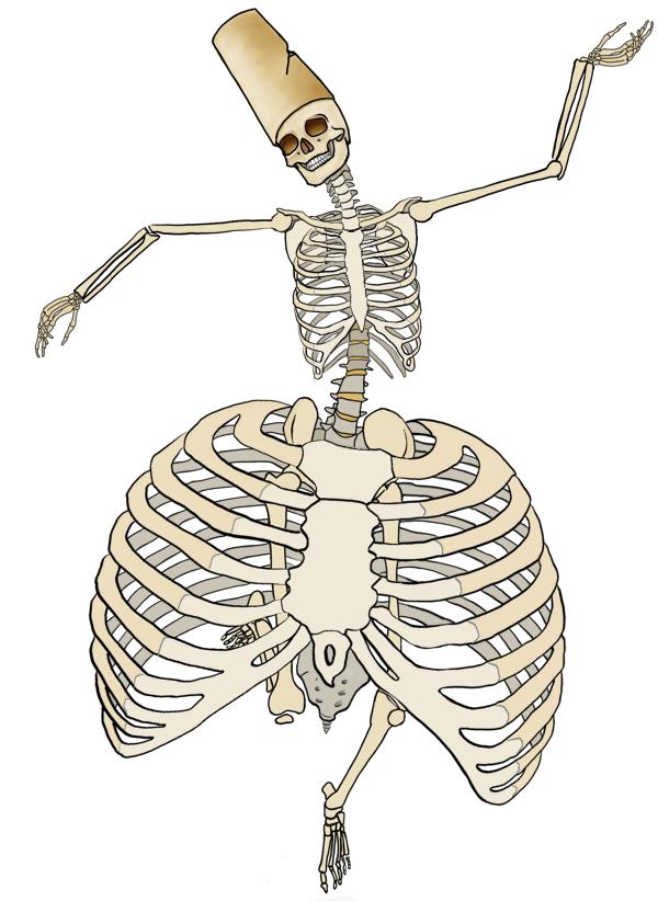 Geraamte met een hoepelrok in de vorm van een reuzenborstkas, dansend als een derwisj.
