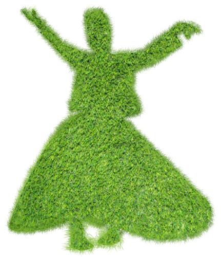 Dansende derwisj van gras.