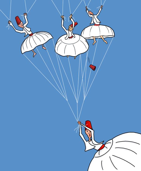 Vallende erwisjen die hun rok als parachute gebruiken.