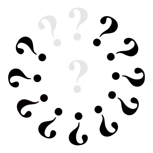 Klok met 3 grijze vraagtekens en 10 zwarte.