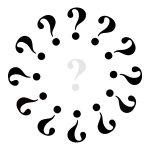 Klok met 1 grijs vraagteken en 12 zwarte.