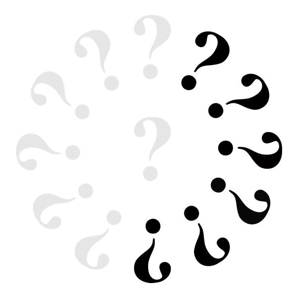 Klok met 7 grijze vraagtekens en 6 zwarte.