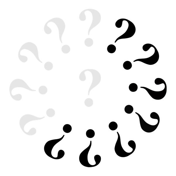 Klok met 6 grijze vraagtekens en 7 zwarte.