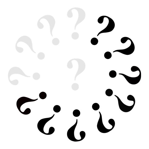 Klok met 5 grijze vraagtekens en 8 zwarte.