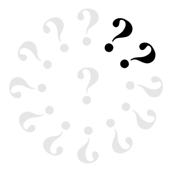 Klok met 11 grijze vraagtekens en 2 zwarte.