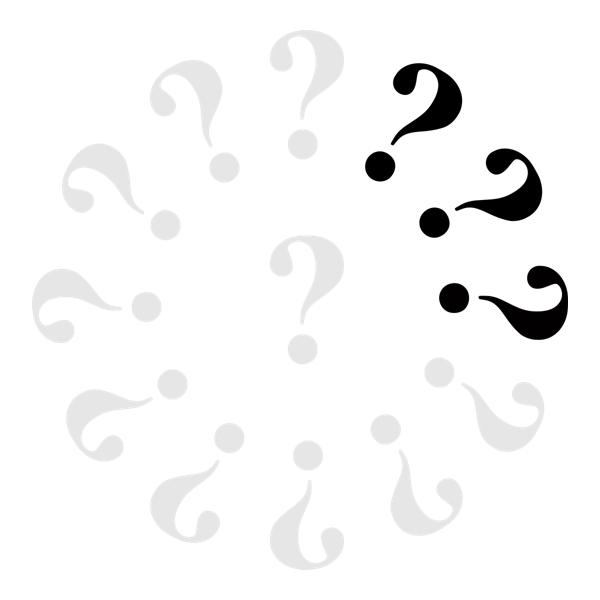 Klok met 10 grijze vraagtekens en 3 zwarte.