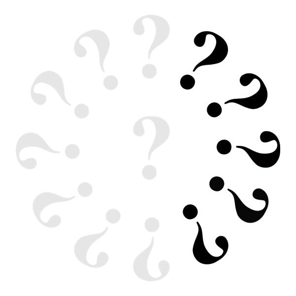 Klok met 8 grijze vraagtekens en 5 zwarte.