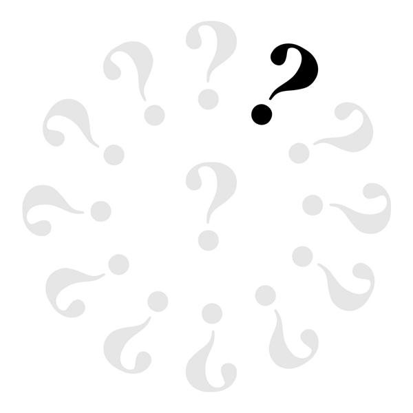 Klok met 12 grijze vraagtekens en 1 zwarte.