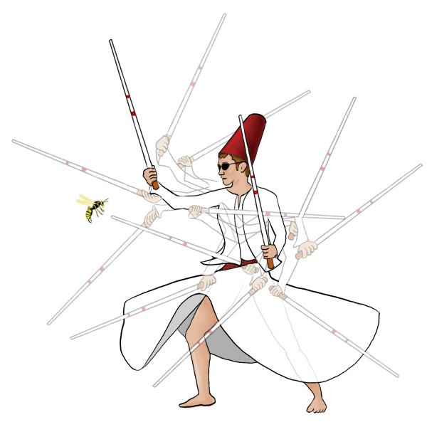 Blinde derwisj die met twee blindenstokken een wesp van zich af probeert te slaan.