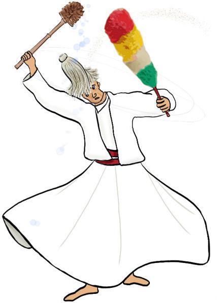 Dansende derwisj met een zwabber op z'n hoofd, een pleeborstel in z'n ene hand en een plumeau in z'n andere.