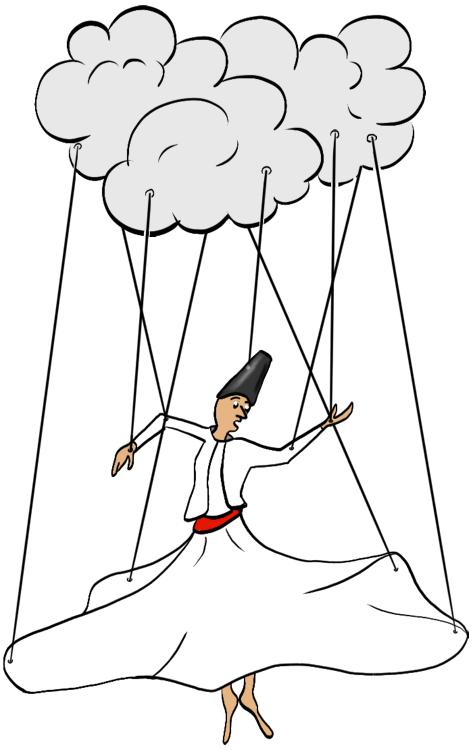 Derwisjmarionet onder een wolk.