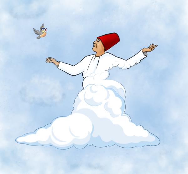 Derwisj met een wolk als rok, zwevend in de lucht.
