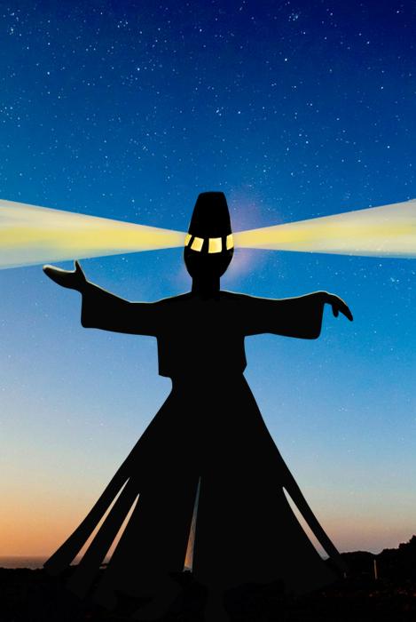 Vuurtoren in de vorm van een silhouet van een derwisj tegen een avondhemel.