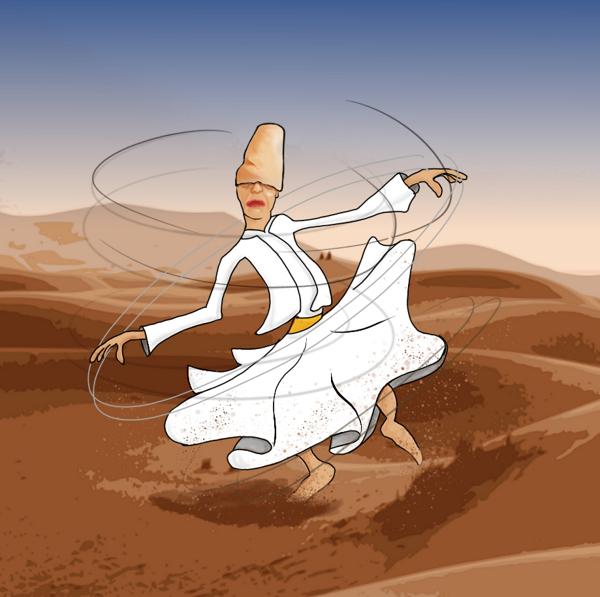 Derwisj dansend in de woestijn.