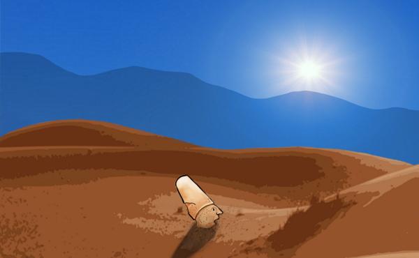 Derwisj die tot aan zijn nek in het zand zit.