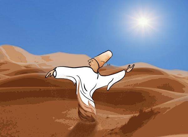 Derwisj die zichzelf al dansend in het zand boort.